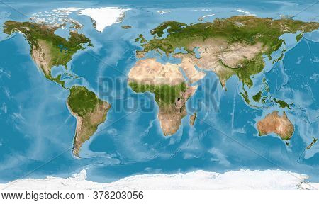 World Map With Texture On Global Satellite Photo, Earth View From Space. Detailed Flat Map Of Contin