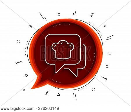 Cooking Hat Line Icon. Chat Bubble With Shadow. Chef Sign. Food Preparation Symbol. Thin Line Cookin