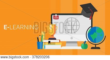 Computer With Academic Cap And School Supplies Standing Over Orange Background. E-learning Concept,