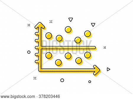 Presentation Chart Sign. Dot Plot Graph Icon. Market Analytics Symbol. Yellow Circles Pattern. Class