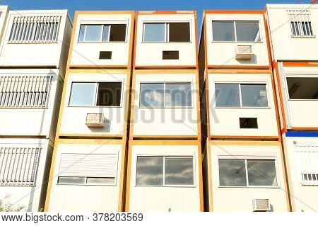 Bretigny, France. 14 May 2020. Prefabricated Modular Offices. Stacking Of Boxes For Construction Sit