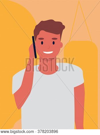 Phone Talk. Millennial Guy Chatting On Cellphone Standing Over Orange Background. Vector Illustratio