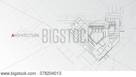 Architecture. Abstract Detailed Building Scheme Project Plan On Gray Background. Vector Illustration