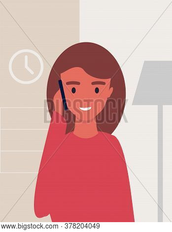 Woman Talking On Cellphone Standing At Home Indoors. Phone Call, Modern Communication Concept. Illus