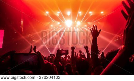 Happy People Dance In Nightclub Dj Party Concert And Listen To Electronic Dancing Music From Dj On T