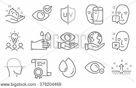 Set Of Medical Icons, Such As Health Eye, Face Declined. Diploma, Ideas, Save Planet. Rubber Gloves,