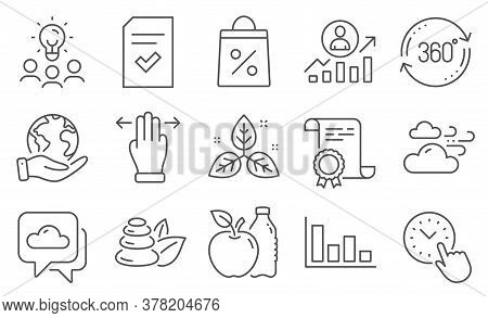 Set Of Business Icons, Such As Time Management, Shopping Bag. Diploma, Ideas, Save Planet. Weather F