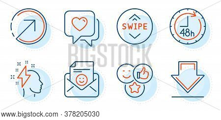 Heart, Like And Swipe Up Signs. Downloading, Brainstorming And Direction Line Icons Set. Smile, 48 H