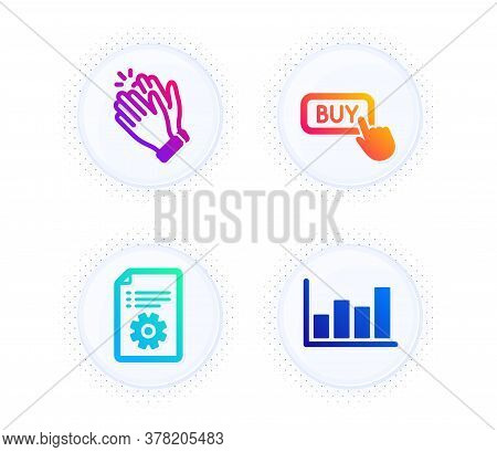 Technical Documentation, Buy Button And Clapping Hands Icons Simple Set. Button With Halftone Dots.