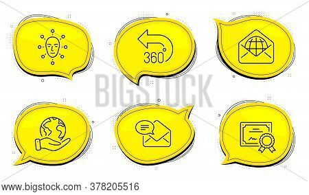 360 Degrees Sign. Diploma Certificate, Save Planet Chat Bubbles. Web Mail, Face Biometrics And New M