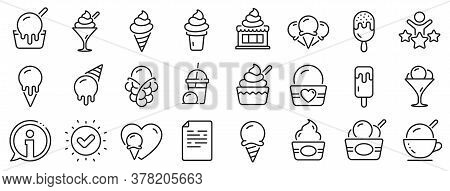 Vanilla Sundae, Frozen Yogurt, Bubble Waffle. Ice Cream Line Icons. Sweet Dessert Food, Milkshake Wi