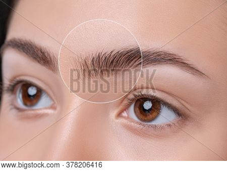 Eyebrows Of A Young Teenager Girl After Plucking And Cutting Close-up. The Make-up Artist Will Do Pe