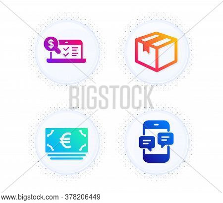 Parcel, Online Accounting And Euro Currency Icons Simple Set. Button With Halftone Dots. Phone Messa