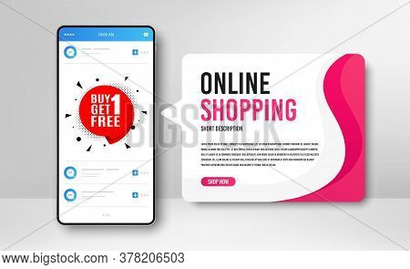 Phone Banner Template. Buy 1 Get 1 Free Badge. Discount Banner Tag. Coupon Icon. Social Media Banner