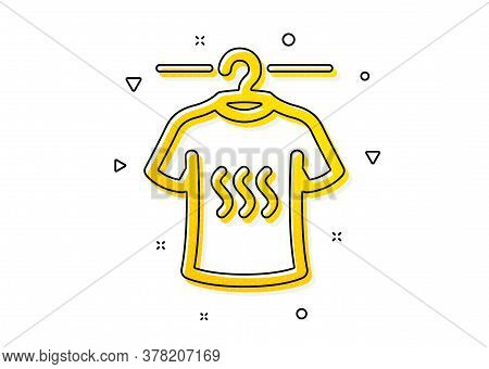 Laundry Shirt Sign. Dry T-shirt Icon. Clothing Cleaner Symbol. Yellow Circles Pattern. Classic Dry T