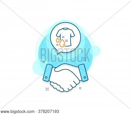 Laundry Shirt Sign. Handshake Deal Complex Icon. Wash T-shirt Line Icon. Clothing Cleaner Symbol. Ag