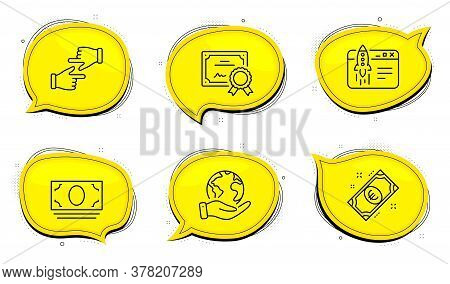 Euro Money Sign. Diploma Certificate, Save Planet Chat Bubbles. Click Hands, Start Business And Cash