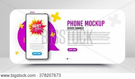 Best Offer Badge. Phone Screen Mockup Banner. Discount Banner Shape. Sale Coupon Bubble Icon. Social
