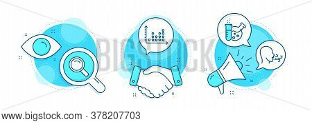 Chemistry Lab, Search And Dot Plot Line Icons Set. Handshake Deal, Research And Promotion Complex Ic