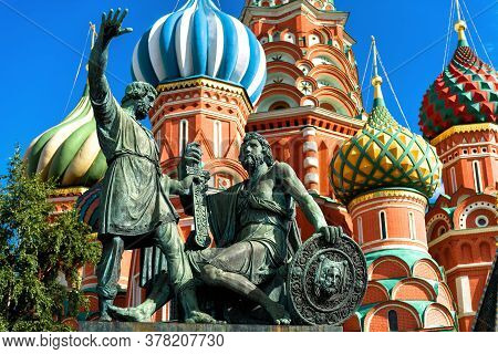 Monument To Minin And Pozharsky By St Basil`s Cathedral In Moscow, Russia. Old Saint Basil`s Temple