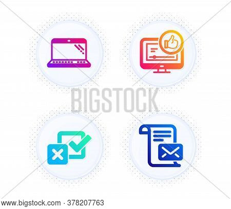 Laptop, Checkbox And Like Video Icons Simple Set. Button With Halftone Dots. Mail Letter Sign. Compu