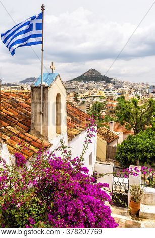 Skyline Of Athens, View From Anafiotika In Plaka District, Greece. Plaka Is Famous Tourist Attractio