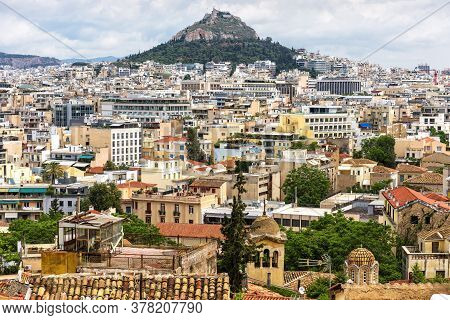 Urban Landscape Of Athens, Scenic View From Plaka District, Greece. Cityscape Of Athens With Mount L