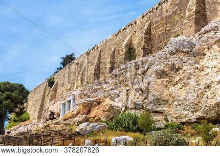 Acropolis With Strong Old Fortress Walls, Athens, Greece. Famous Acropolis Hill Is Top Landmark Of A