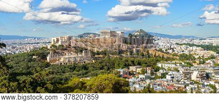 Landscape Of Athens, Greece. Panoramic Scenic View Of Acropolis Hill With Ancient Greek Ruins In Ath