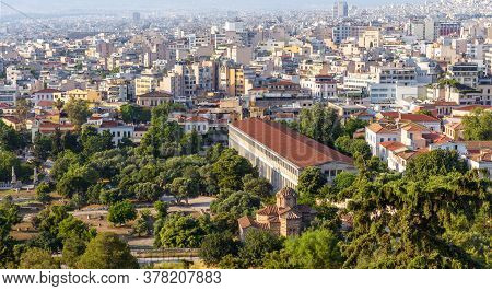 Landscape Of Athens, Greece. Aerial Panoramic View Of Ancient Agora And Stoa Of Attalos. This Place