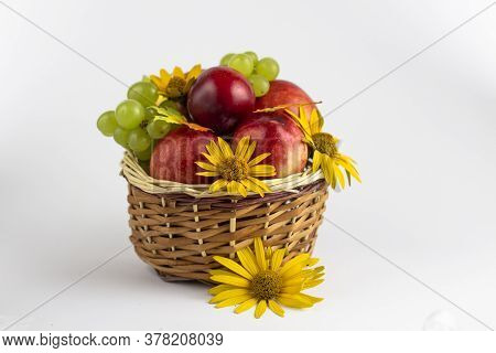 Fresh Fruits. Healthy Food. Mixed Fruit, Peaches And Grapes. Studio Photography Of Various Fruits On
