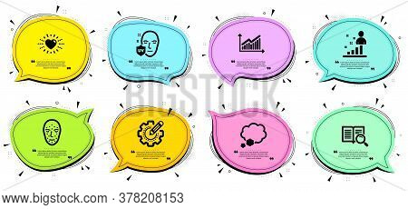 Graph, Stats And Face Biometrics Signs. Chat Bubbles With Quotes. Settings Gear, Talk Bubble And Uv