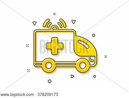 Medical Emergency Transport Sign. Ambulance Car Icon. Yellow Circles Pattern. Classic Ambulance Car