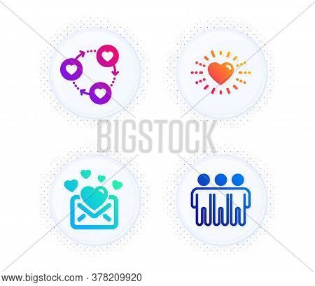 Friends Community, Love Mail And Heart Icons Simple Set. Button With Halftone Dots. Friendship Sign.