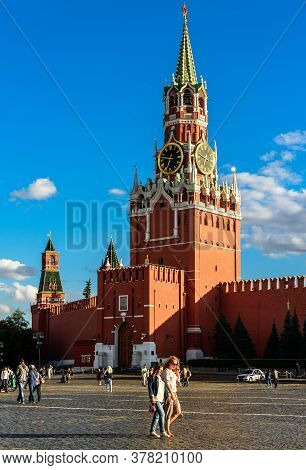 Moscow - July 23, 2020: Kremlin On Red Square In Moscow, Russia. Is Is Famous Tourist Attraction Of