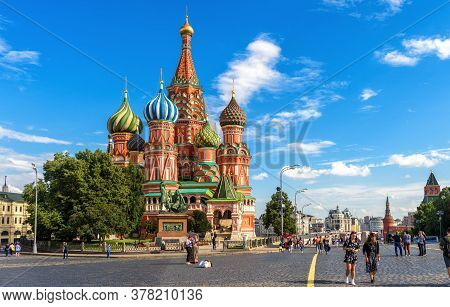 Moscow - July 20, 2020: St Basil`s Cathedral On Red Square In Moscow, Russia. Ancient Saint Basil`s