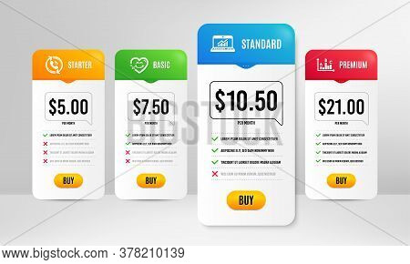 Smile Face, Call Center And Online Statistics Icons Simple Set. Price Table Template. Survey Results