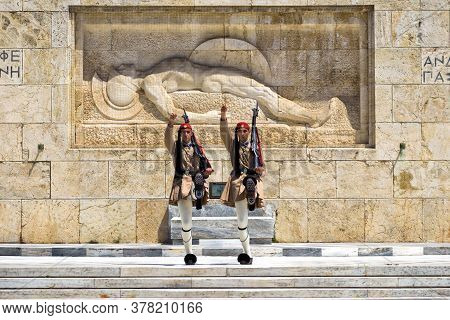 Athens - May 9, 2018: Changing Of Honor Guard On Syntagma Square In Athens, Greece. Presidential Gua