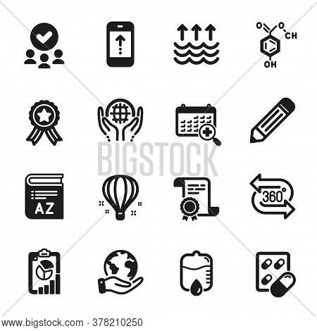Set Of Science Icons, Such As Air Balloon, Pencil. Certificate, Approved Group, Save Planet. Chemica