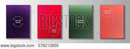 Tech Circle Screen Tone Gradation Title Page Templates Vector Collection. Medical Magazine Faded Scr