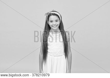 Looking Beautiful. Happy Girl With Cute Look. Beauty Look Of Little Child. Small Fashion Model Yello