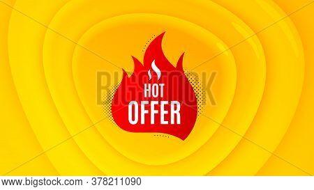 Hot Offer Badge. Geometric Plastic Design Banner. Discount Banner Shape. Coupon Tag Icon. Orange Sha