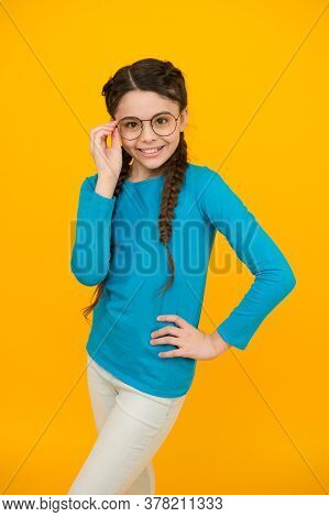 Admit You Need Glasses. Smart Looking Kid Yellow Background. Positive Emotions. Kid Wear Glasses Bec