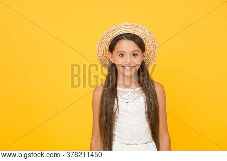 Summer Vibes. Joyful Summer Holiday And Vacation. Kid Seasonal Fashion. Carefree Beauty On Yellow Ba