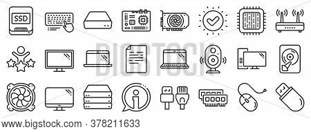 Motherboard, Cpu, Internet Cables Icons. Computer Components, Laptop, Ssd Line Icons. Wifi Router, C