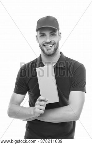 Your Parcel In Safe Hands. Courier Guy Hold Parcel Box Isolated On White. Parcel Delivery Service. S
