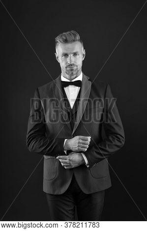 Classic Glamour And Elegance. Businessman Dark Background. Businessman Wear Classy Suit. Handsome Bu