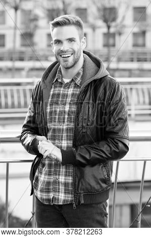 This Is What Confident Man Looks Like. Happy Man On Autumn Day. Handsome Man Smile In Casual Style.
