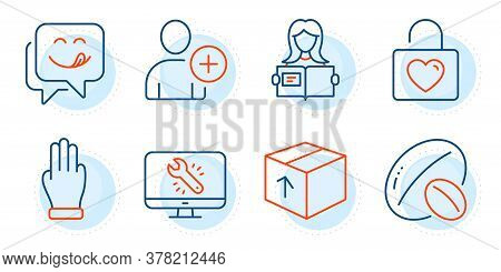 Package, Soy Nut And Woman Read Signs. Yummy Smile, Wedding Locker And Monitor Repair Line Icons Set