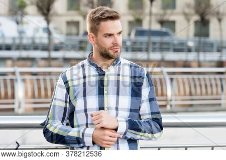 Seriously Handsome. Handsome Man Stand Urban Outdoors. Handsome Look Of Young Guy. Male Grooming. Ha